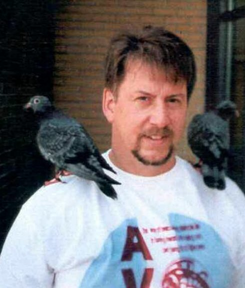 pigeons on Peter's shoulder